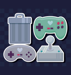 classic video game set icons vector image