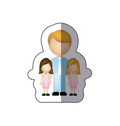 color man her girls twins icon vector image
