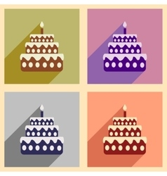 Concept flat icons with long shadow birthday cake vector
