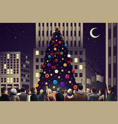 crowd in city near big lighted christmas tree vector image