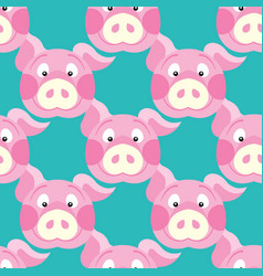 cute piggy art background design for fabric and vector image