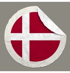 Denmark flag on a paper label vector