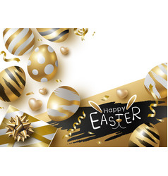 Easter day design of gold eggs and giftbox vector