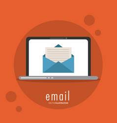 Envelope laptop email message mail icon vector