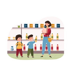 Family with two little children shopping vector