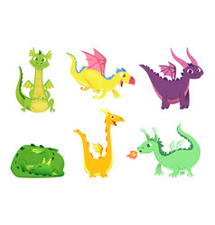 fantasy dragons cute reptiles amphibians and vector image