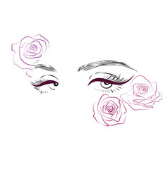 Female eyes and roses drawing long eyelashes vector