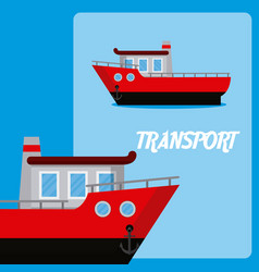 Fishing boat maritime transport vector