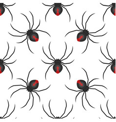 Flat style seamless pattern with spider vector