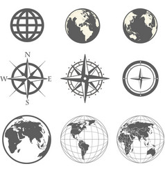 Globe and wind rose scheme collection vector image