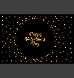golden hearts frame valentines day stylish vector image
