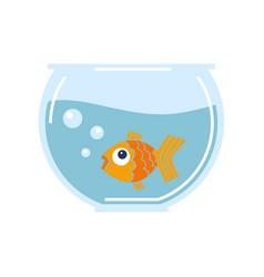 Goldfish in glass bowl vector