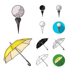 golf and attributes cartoonblackflatmonochrome vector image