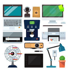 group computer office equipment laptop monitor vector image