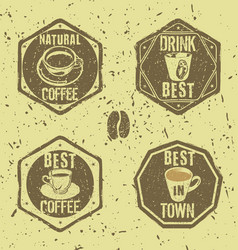 Grunge coffee labels vector