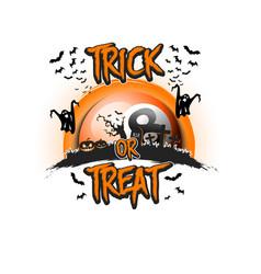 Halloween trick or treat and billiard ball vector