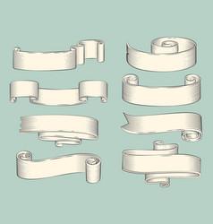 hand drawn sketch set ribbons icon vector image