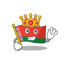 Happy flag king belarus cartoon character style vector