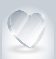 heart of glass with reflections and shadows vector image