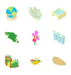 Holiday in Singapore icons set cartoon style vector image