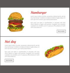 hot dog and hamburger set vector image