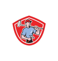 House Painter Paint Roller Shield Cartoon vector