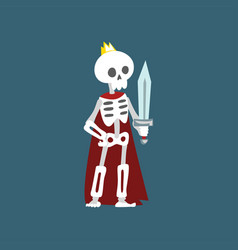 human skeleton wearing red cloak and gold crown vector image