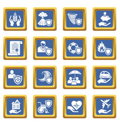 Insurance icons set blue square vector