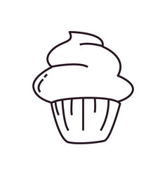 Isolated cupcake dessert line style icon vector