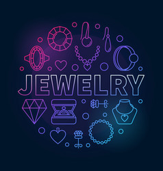 Jewelry round colored outline creative vector