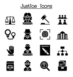 Justice law court legal icon set vector