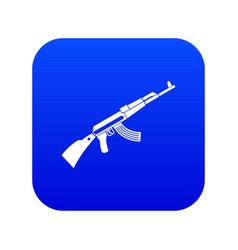 Kalashnikov machine icon digital blue vector