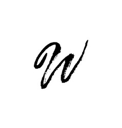 letter w handwritten by dry brush rough strokes vector image