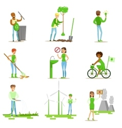 Men and women contributing into environment vector