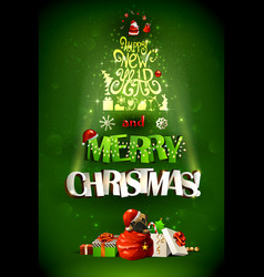 merry christmas inscription and happy new year vector image