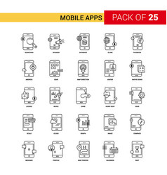 Mobile apps black line icon - 25 business outline vector