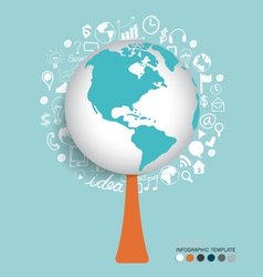 Modern globe with application icon modern template vector image