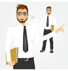modern hipster businessman showing something vector image