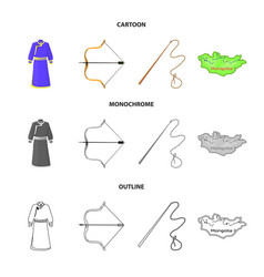 Mongol dressing gown battle bow theria on the vector