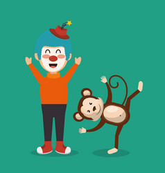 monkey and clown circus show vector image