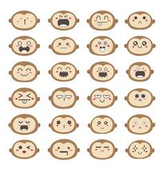 Monkey face emoticons set vector