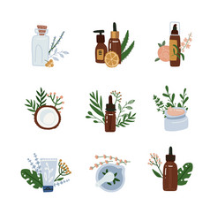 Natural cosmetics compositions set skincare and vector