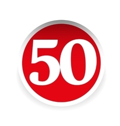 Number fifty red label vector