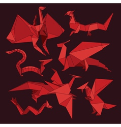 origami dragons vector image