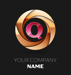 pink letter q logo symbol in golden circle shape vector image