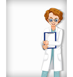Plain background with male doctor with notes vector