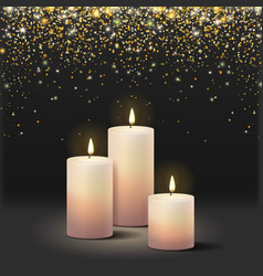 Realistic candles at dark background and confetti vector