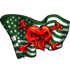 Red hearth skull and flag usa vector