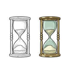 Retro hourglass vintage engraving vector
