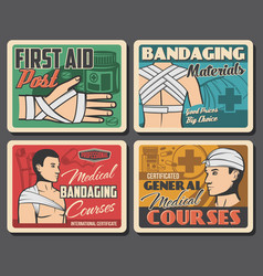 retro posters medical first aid and bandaging vector image